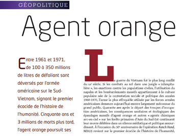 Agent Orange paru dans le magazine NEXUS
